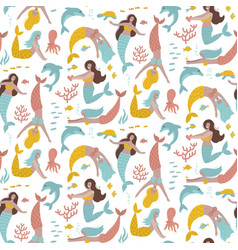pastel seamless pattern with fairy mermaids vector image