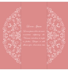 Pink card design with ornate pattern vector
