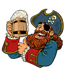 pirate funny character wooden beer mug vector image