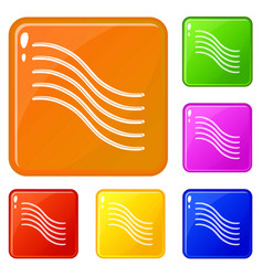 postal lines icons set color vector image