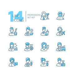 professions - set line design style icons vector image