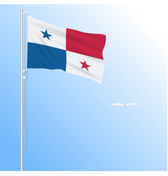 Realistic flag of panama fluttering in the wind vector