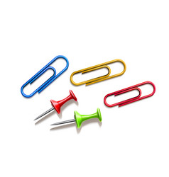 Realistic pins and colored paper clips set vector