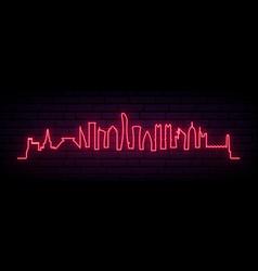 Red neon skyline doha city bright doha long vector