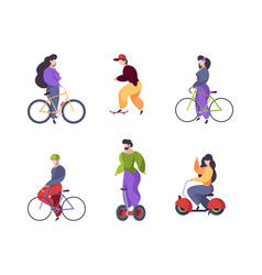 riding people urban transport car scooter vector image