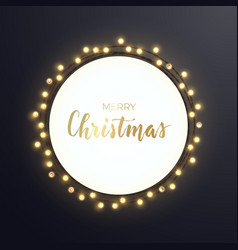 round christmas design with light bulb garland on vector image