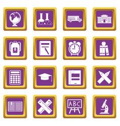 school icons set purple vector image
