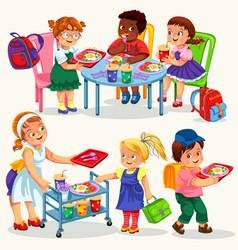 Schoolchildren having lunch vector
