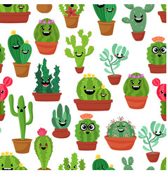 Seamless pattern with cute kawaii cactus and vector