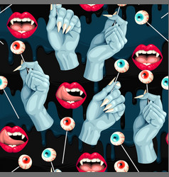 seamless pattern with lips and lollipops vector image