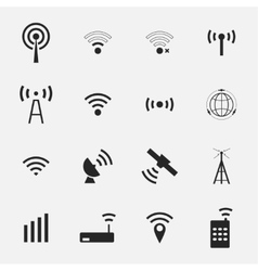 Set different black wireless and wifi icons vector