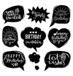 Set of comic speech bubbles with happy vector