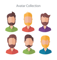 Set of different flat male characters vector