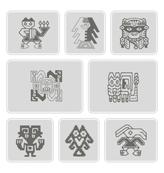 Set of monochrome icons with Peruvian Indians art vector