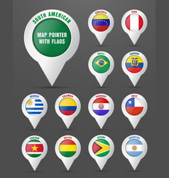 set pointer to map with flag south vector image
