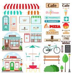 set shop facade and exterior elements with vector image