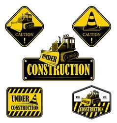 Set under construction emblems labels vector