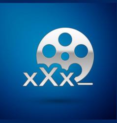 Silver film reel with inscription xxx icon vector
