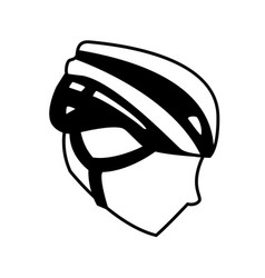 Sport head with helmet cycling block line style vector