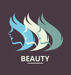 Stylized silhouette a woman in profile vector