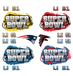 SuperBowl Party Text and Team Icons vector image