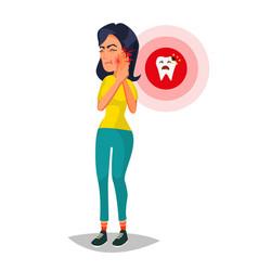 Toothache concept unhappy woman with ache vector