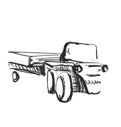 Tractor on white background free hand drawn vector