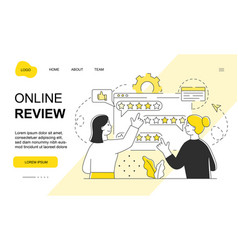 two female characters are setting online review vector image