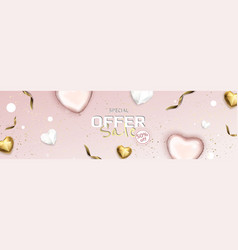 Valentine s day sale background with heart vector