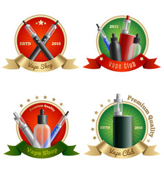 Vape shop emblems set vector