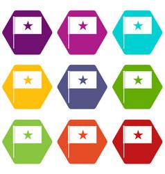 vietnam flag icon set color hexahedron vector image