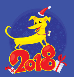 yellow dog for the new year 2018 vector image