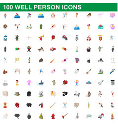 100 well person icons set cartoon style vector image vector image