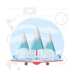 airplane with snowy mountains with ice vector image vector image