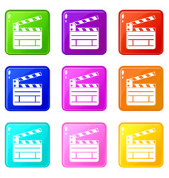 clapperboard icons 9 set vector image vector image