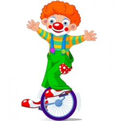 clown on unicycle vector image vector image