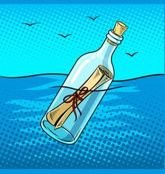 message in bottle pop art vector image