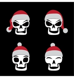 Santa skull emotion vector image vector image