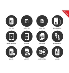 Sim card icons on white background vector
