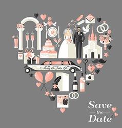Wedding card invitation of heart vector image vector image