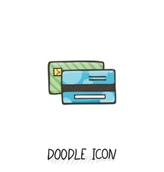 Credit Card Doodle Icon vector image