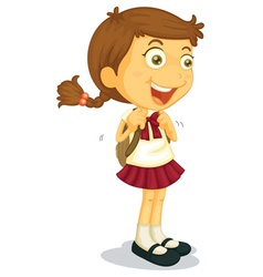 Girl going to school vector image vector image