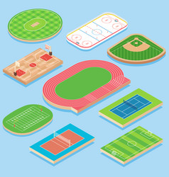 sport field flat isometric icon set vector image