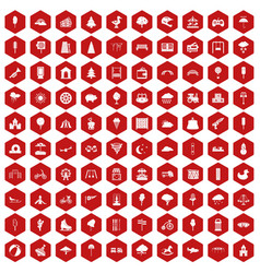 100 childrens park icons hexagon red vector image vector image