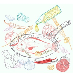 Background with taste Fish dish vector image