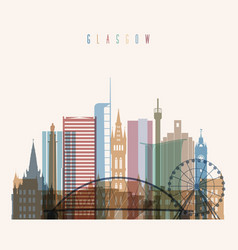 glasgow skyline detailed silhouette vector image