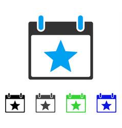 Star calendar day flat icon vector