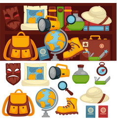 Tourists set of necessary things and clothes for vector