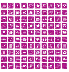 100 learning kids icons set grunge pink vector