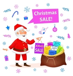 Christmas sale Santa Claus cartoon vector image